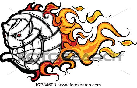 clip art of volleyball ball flaming face vector k7384608 search rh fotosearch com eps file vector graphics download eps vector graphics