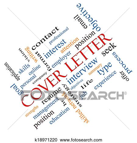 Stock Illustrations of Cover Letter Word Cloud Concept Angled