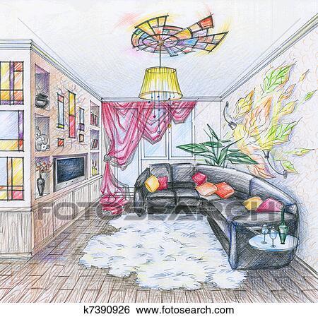 Archivio Illustrazioni - schizzo, di, interno, di, soggiorno ...