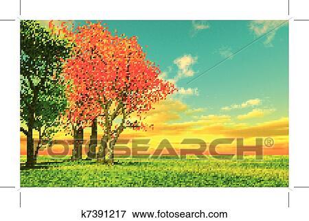 剪贴画 - 美丽, 秋天风景