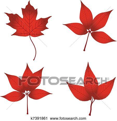 剪贴画 - 红的树叶