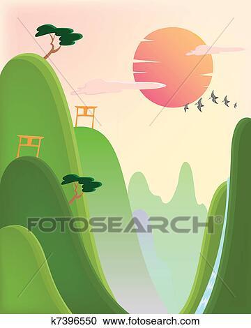clipart asiatische natur k7396550 suche clip art. Black Bedroom Furniture Sets. Home Design Ideas
