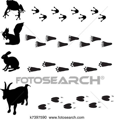 Clipart of animals and their tracks k7457182 - Search Clip Art ...