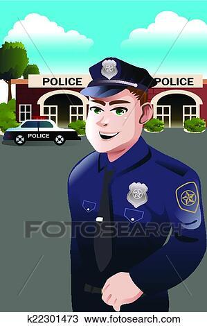 Polizeiwache clipart  Clipart - polizist, vor, polizeiwache k22301473 - Suche Clip Art ...