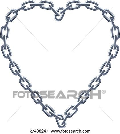 Clip Art Of Chain Silver Heart K7408247 Search Clipart