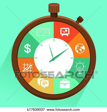 clip art of vector flat concept time management k17639037 search rh fotosearch com time management clipart illustrations time management clipart images