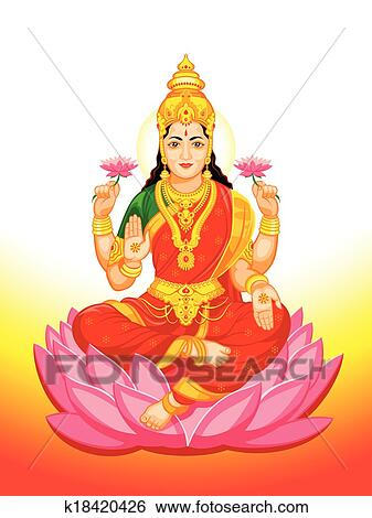 Clip Art of Indian Goddess Lakshmi k18420426 - Search ...