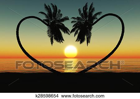 Drawings Of Sunset At The Tropical Beach With Coconut Palm Trees