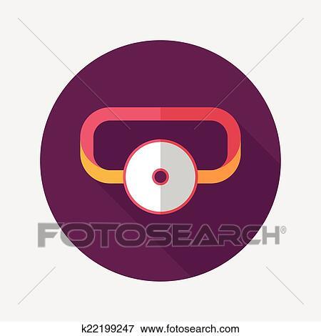 clip art of doctor head mirror flat icon with long shadow k22199247 rh fotosearch com Walking Shadow Clip Art Shadow of Man Clip Art