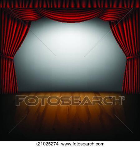 剪贴画 - 红的帘子, 同时,, 电影院, 屏幕图片