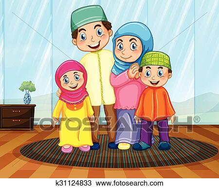 Clipart Of Muslim Family In The Living Room K31124833