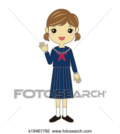 Clip Art of A student wearing school uniform k19467792 ...