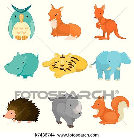 剪贴画 - 卡通漫画, 动物园动物