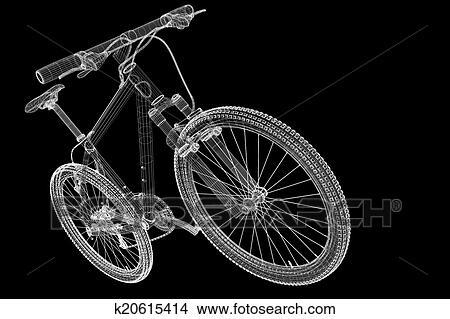 手绘图 - 山, 自行车