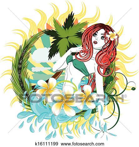 Island Flowers Drawings Clip Art Island Girl