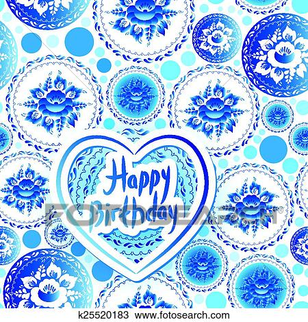 Clipart of Happy Birthday Card Russian traditional folk art gzhel – Russian Birthday Greetings