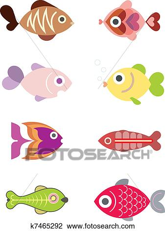 剪贴画 - 水族馆, 鱼,