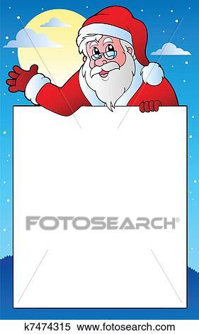 剪贴画 - 框架, 带, 圣诞老人