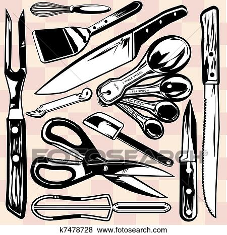 Kitchen Tools Drawings clip art of kitchen tools k7478728 - search clipart, illustration