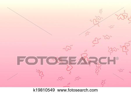 Clip Art Line Of Hearts : Stock illustration of plain pink and white color background with
