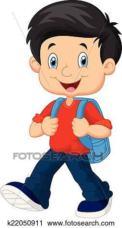 Clipart of School boy cartoon walking k22050911 - Search ... Happy High School Student Clipart