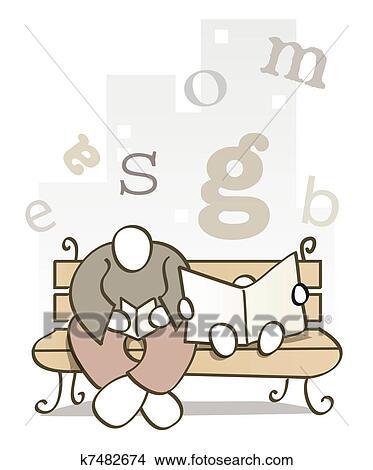 zeichnungen vater sohn lesen buches k7482674 suche clip art illustrationen. Black Bedroom Furniture Sets. Home Design Ideas