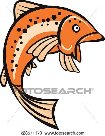 clipart of trout rainbow fish jumping up cartoon k28571170 search rh fotosearch com rainbow fish clip art free rainbow fish clipart images