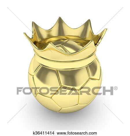 手绘图 - 足球, 带, crown., 3d, rendering.图片
