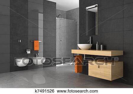 Stock illustration gekachelt badezimmer mit holz - Holzmobel badezimmer ...