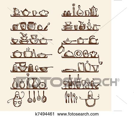 kitchen utensils drawing. Clipart - Kitchen Utensils On Shelves, Sketch Drawing For Your Design. Fotosearch Search
