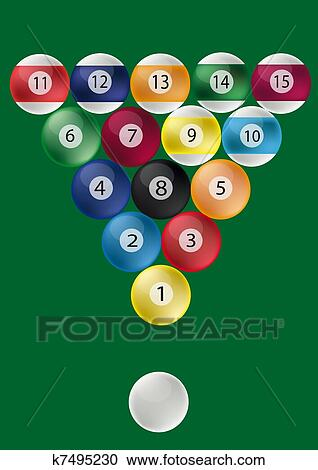 Clipart Of Pool Table Ball Triangle K7495230