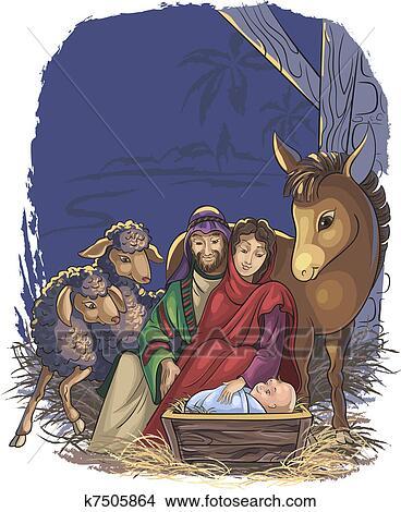Clipart Of Nativity Scene With Holy Family K7505864