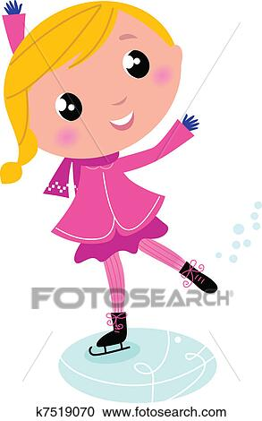 Clipart of Figure skating cute little blond Child isolated ...