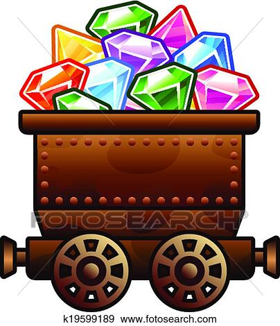 Clip Art of Old mine cart with diamonds k19599189 - Search Clipart, Illustration ...