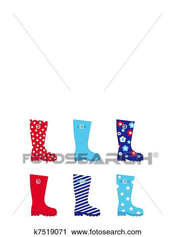 Clipart - Fresh u0026 colorful rubber wellington boots isolated on white.  Fotosearch - Search Clip