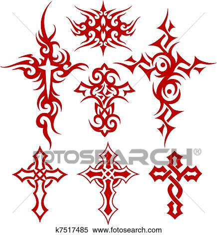 stock illustration of tribal cross fire k7517485 search