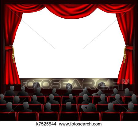 clipart of cinema with audience k7525544 search clip art rh fotosearch com Projector Clip Art outdoor movie screen clipart