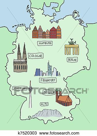 Clipart Of Map Of Germany K Search Clip Art Illustration - Germany map clipart