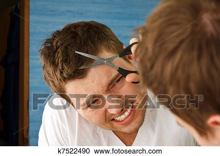 Stock Photography of Man Mirror Hair Cut k7522490 - Search Stock ...