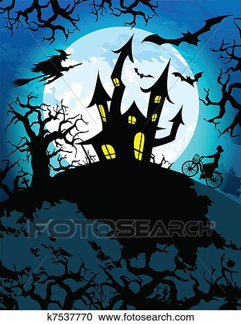 Clipart of Haunted Halloween Theme k7537770 - Search Clip Art ...