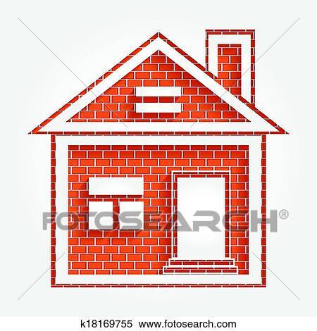 剪贴画 房子, 在上, 砖墙