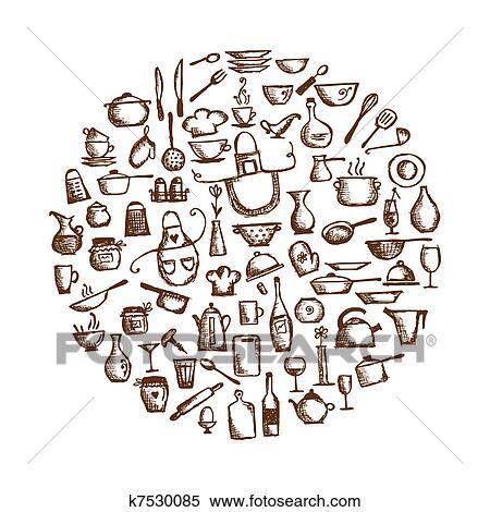 clipart - utensili cucina, schizzo, disegno, per, tuo, disegno ... - Disegni Per Cucina