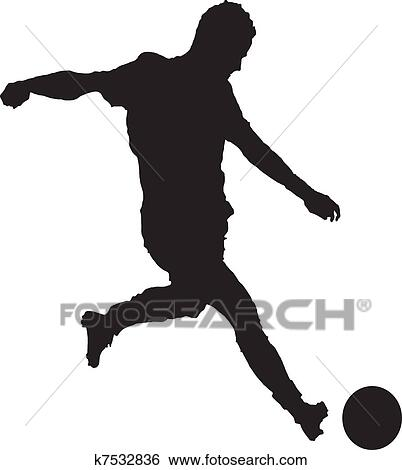 Clip Art of Soccer player kicking ball as viewed through goalie's ...