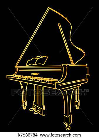 - 金色, 钢琴