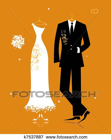 Clip Art of Wedding groom suit and bride's dress for your ...