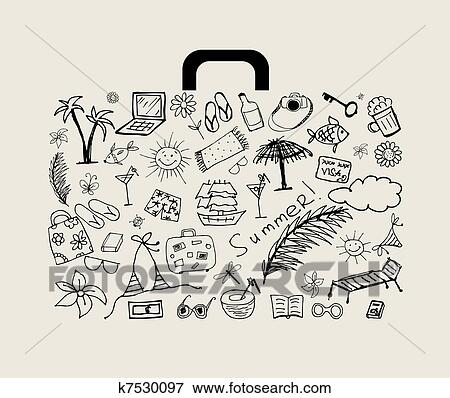 Clip Art Of Summer Holiday Suitcase For Your Design K7530097