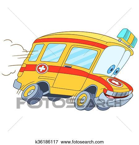 剪贴画 - 漂亮, 卡通漫画, 救护车, 汽车图片