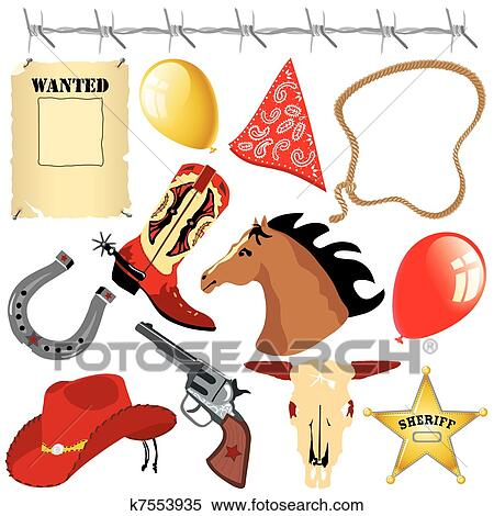 Clipart of Cowboy Wild West Birthday Clipart k7553935 - Search ...