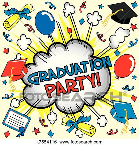 Clip Art of Graduation Party Card k7554116 - Search ...