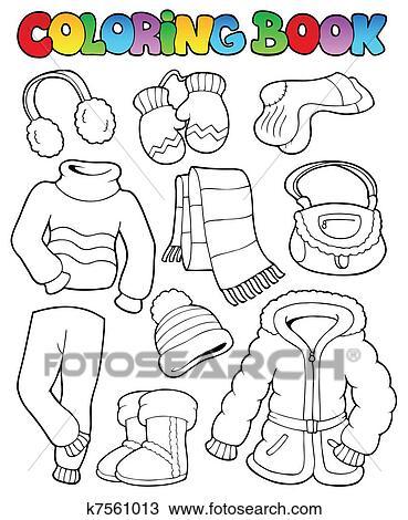 Clipart of Coloring book winter apparel 1 k7561013 - Search Clip Art ...